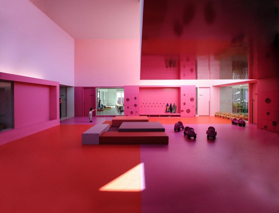 Farbiger Linoleum Fußboden