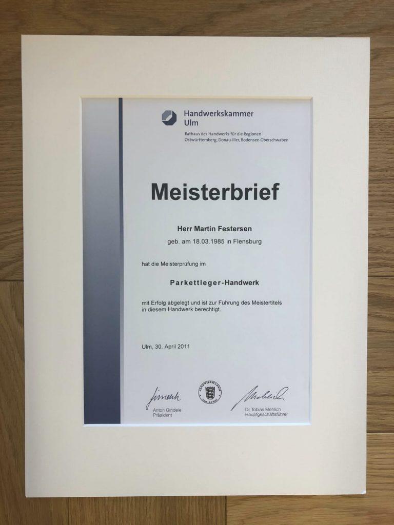Meisterbrief Perkettleger-Handwerk Martin Festersen