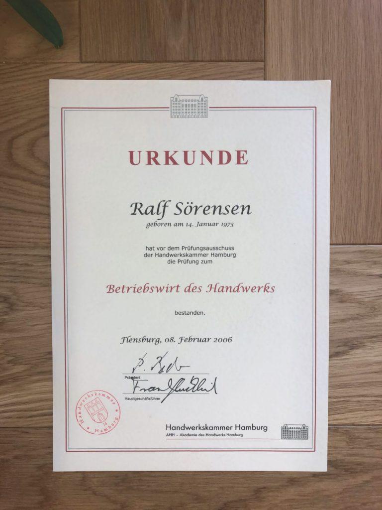 Urkunde Betriebswirt des Gandwerks Ralf Sörensen