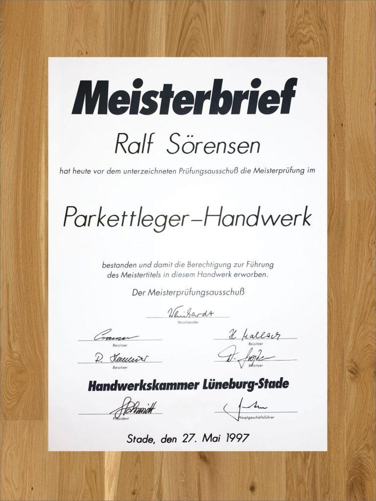 Parkettleger Meisterbrief Ralf Sörensen
