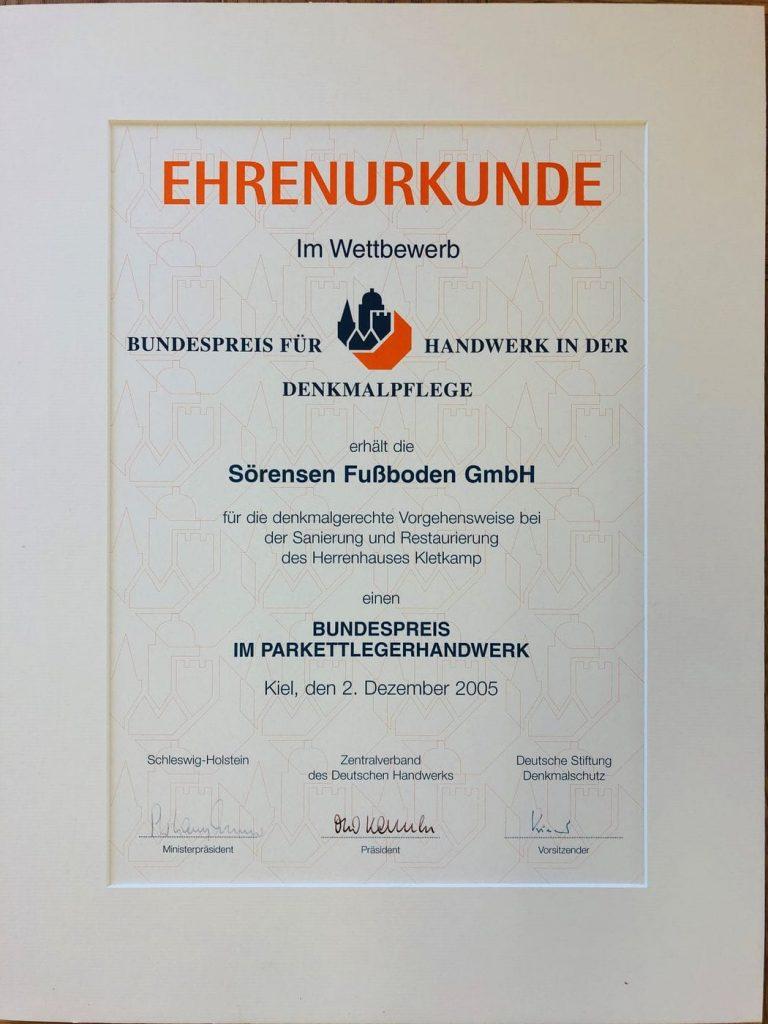 Ehrenurkunde Denkmalpflege